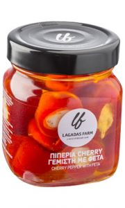 """Lagadas  cherry pepers met feta, a tasty """"meze"""" for tsipouro, ouzo and beer"""
